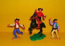 Timpo 3x Cowboy G2 Reiter Pferd Wildwest Western Figur Gangster Toys (14)