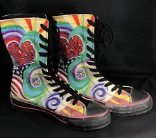 Underground England LOVE Rainbow Graffiti Embroidered Hippie Lace Up Boots 6