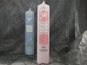 Taufkerze Kerze Taufe Kommunionkerze Junge Mädchen rosa blau 30/6 cm 16550