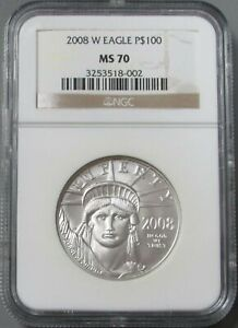 2008 W PLATINUM $100 EAGLE 1 OZ BURNISHED DIE NGC MINT STATE 70