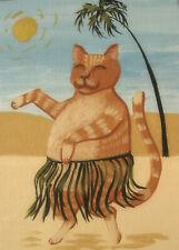 Cat Hula Hawaii Island grass skirt dance ACEO Giclee folk art print Criswell