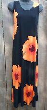 Jostar big hibiscus no iron travel fabric tank dress orange L