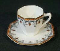 Beautiful Royal Doulton Art Deco Claremont Gilt Trim Demitasse, Orange,1912
