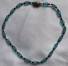 Clear Beaded Ankle Bracelet 10� Pretty Little Light Blue, Black And