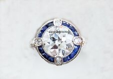 2.44 Ct Colorless Moissanite Vintage Bezel Engagement Ring 925 Sterling Silver