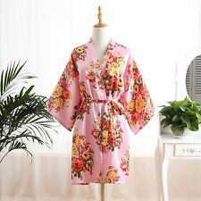 Silk Satin Floral bridesmaid robes gowns bride bath robe wedding kimono robes