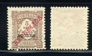 1910 Portugal AZORES 5 Reis Postage due Stamps Overprint MNH Sc J14