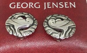 "Georg Jensen 925 Sterling Silver ""Dove Bird"" Clips #66 in Original Box"