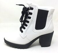 MIA Shoes Womens Almina Lace Up Ankle Combat Boots White Leather Size 8.5 M US