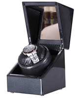 Single Automatic Watch Winder Carbon Fiber Piano Finish Box Japanese Motor