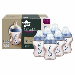 Tommee Tippee Closer To Nature Deco Bottle - 260ml - Girl - 6 Pack