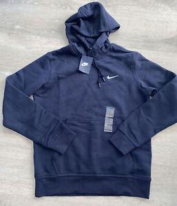 Nike Club Fleece Swoosh Pullover Hoodie Navy/White 826433-451 Men's Size Medium