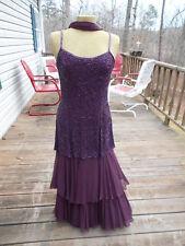 Della Roufogali Purple Beaded Formal Prom Dress Gown & Shawl Size S / M - 8