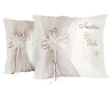 Set of 2 White Satin Nuestra Boda Wedding Kneeling Pillows - Cojines Para Boda