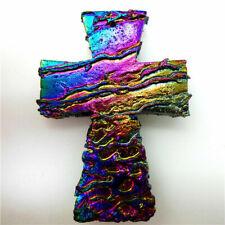 Cross Titanium crystal Agate Druzy Quartz Geode stone Pendant Bead 46*32*6mm diy