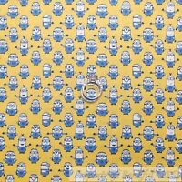 BonEful Fabric FQ Cotton Quilt Yellow White Blue Minion Movie Character VTG Boy