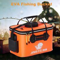 Portable Handle Fly Carp Bag Fishing Bucket Collapsible Folding Outdoor Barrel