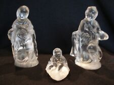 Kristaluxus Crystal Frosted Glass Nativity - Mary, Joseph, Jesus - 3 Piece Set