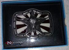 Nocona Red White & Blue Longhorn Skull Buckle 37942