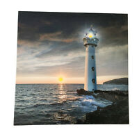 LED Light Up HD Sunset Lighthouse Scene Wall Home Decor Canvas Picture Gift Art