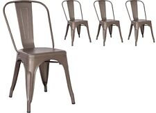4 Gun Metal Tolix Style Dining Chairs Metal Industrial Quality Kitchen French
