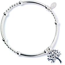 925 Sterling Silver Ball Bead Noodle Roodle Bracelet with Tree of Life Charm