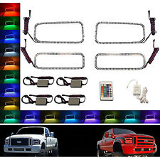 05-07 Ford F-250 Multi-Color Changing Shift LED RGB Halo Headlight Rings Set IR