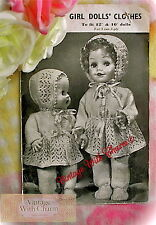 Vintage 1940s Dolls Clothes Knitting Pattern. Fit 12 inch & 16 inch Baby Dolls