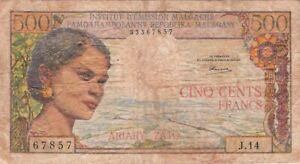 Madagascar 500 Francs 100 Ariary 1964 P-58b signature.2 Ramaroson (6509) G/VG