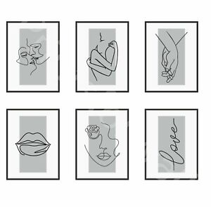 Love Art Print Poster One Line Drawing Home Bedroom Grey Wall Art A3 A4 A5
