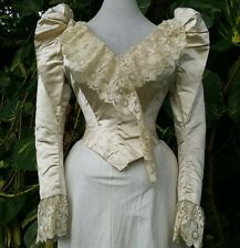 SPLENDID ANTIQUE LABELED WEDDING OR BALL GOWN BODICE VICTORIAN