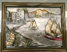 56x50cm Mahogany 3 D Wood Mirror Designer Picture Picture Frame Sail Boat NEW