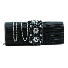 Women Pleated Evening Bag Clutch with Rhinestone Pearl Flap Chain Strap - black