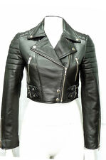 Liz Black Ladies Woman's Retro Designer Real Soft Sheep Napa Leather Jacket