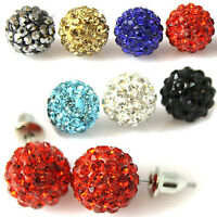 STUD HOOK OR CLIP ON 10mm SHAMBALLA STUD EARRINGS CRYSTAL CLAY DISCO BALL BEADS