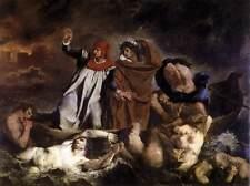 Dream-art Oil painting Dante and Virgil crossing the Styx & Man-eating demon