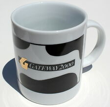 Gateway 2000 Coffee Cup Mug Cow Pattern Gold Color G Computer Vintage Y2K