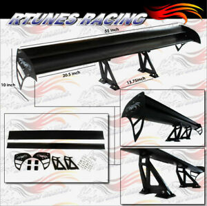 """Rtunes 55"""" Type S Universal Aluminum GT Double Deck Spoiler Wing BLACK Mazda"""