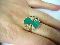 14K GOLD VINTAGE MALACHITE AND DIAMONDS UNUSUAL LADIES RING 6.8 GRAMS, SIZE 7.