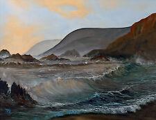 "SUPERB ORIGINAL ELIZABETH WILLIAMS ""Waiting for the Tide"" Seascape Wave PAINTING"