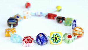 Venetian Handmade Colourful Flower Bead Bracelet (Adjustable)002