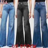 Women High Waist Jeans Wide Leg Wash Denim Long Pants Casual Trousers