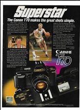 Larry Bird Boston Celtics Print Ad ~ 1985 Canon T70 Camera Superstar