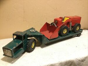 Vintage 1950's Large Ny-Lint Tournahauler W/Hough Payloader-Pressed Steel Toy