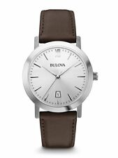 Bulova Men's 96B217 Quartz Silver Tone Dial Brown Leather Strap 38mm Watch