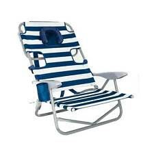 Ostrich On-Your-Back Outdoor Lounge 5 Position Recline Beach Chair, Striped Blue