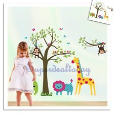 Large Monkey Owl Tree Baby Kid Nursery Room Wall Decals Decor Removable Sticker
