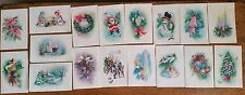 Lot of 17 Vintage Unused Coronation Christmas Cards Glitter Accents