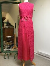 Blanes shocking pink Vintage 60s 70s Lace party dress. Jewel buckle