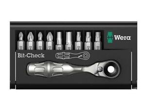 "Wera 073645 10 Pce 1/4"" Hex-Drive Mini Ratchet Screwdriver Bit Set PZ/PH/TX/Hex"